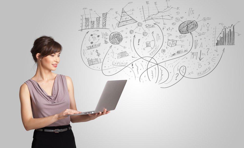 Women using laptop.